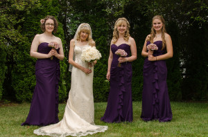 The world's most flattering (albeit restrictive) bridesmaid dress. From left: me, Best Friend, Sister of Best Friend and Younger Sister. Photo courtesy of Carlen Images.