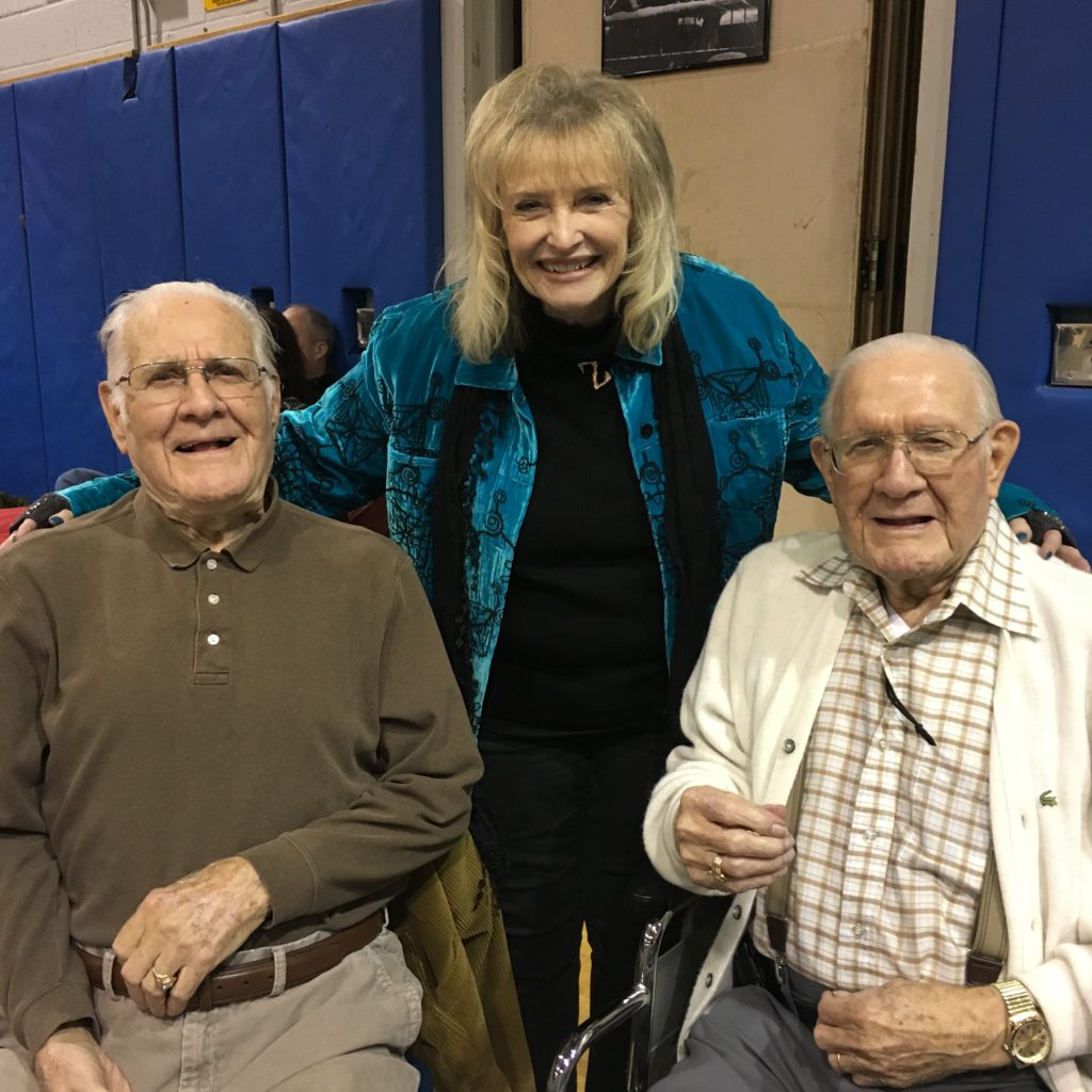 "From left to right: Grandpa's twin, actress Karolyn Grimes (who played Zuzu) and Grandpa posed for a photo together at the 2016 ""It's a Wonderful Life"" Festival in Seneca Falls, NY."